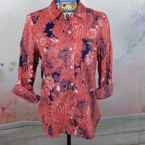 Tommy Hilfiger pink Navy paisley button down shirt